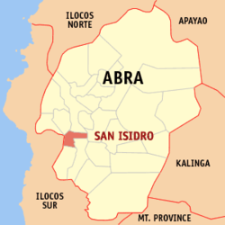 Map of Abra showing the location of San Isidro.