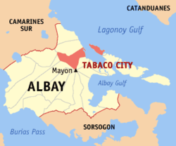 Map of Albay with Tabaco highlighted