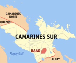 Map of Camarines Sur with Baao highlighted