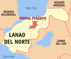 Map of Lanao del Norte with Poona Piagapo highlighted