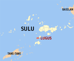 Map of Sulu showing the location of Lugus