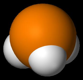 Trigonal pyramidal molecular geometry - Phosphine, an example of a molecule with a trigonal pyramidal geometry.