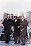 Photograph of President Reagan and Vice-President Bush meeting with General Secretary Gorbachev on Governor's Island... - NARA - 198596.jpg