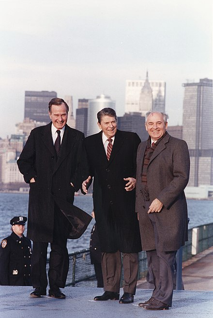 International policy with the Soviet Union was a critical component of the political landscape in the late 1980s. Vice President Bush can be seen here standing with President Ronald Reagan and Soviet leader Mikhail Gorbachev, on the New York City waterfront, 1988. Photograph of President Reagan and Vice-President Bush meeting with General Secretary Gorbachev on Governor's Island... - NARA - 198596.jpg