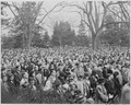 Photograph of a large and solemn crowd in attendance at the dedication of Franklin D. Roosevelt's home at Hyde Park... - NARA - 199355.tif
