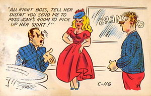 "Double entendre postcard. ""All right boss..."