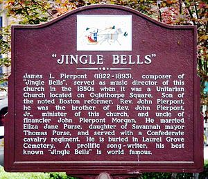 "James Lord Pierpont - The commemorative plaque for James Lord Pierpont and his ""Jingle Bells"" in Savannah, Georgia, USA"