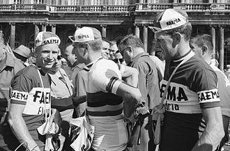 Faema (cycling team, 1955–1962) - Faema riders Piet van Est and Rik Van Looy and Huub Zilverberg at the 1962 Tour de France