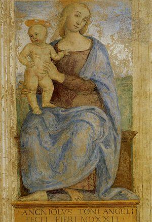 Fontignano - Pietro Perugino's 1522 Madonna and Child fresco at the Oratory of Annunciation in Fontignano