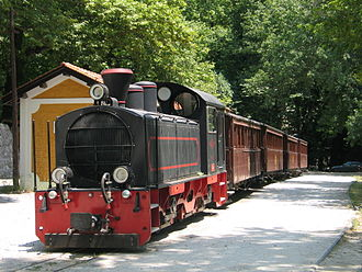 2 ft and 600 mm gauge railways - A steam outline Schöma diesel locomotive on the Pelion railway in Greece.