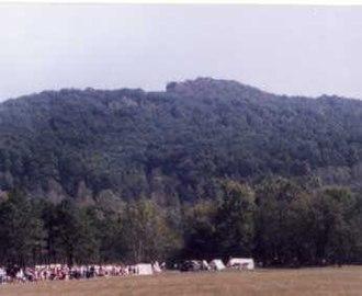 Pilot Knob (Iron County, Missouri) - Pilot Knob. Note distinctive summit formation. (1998)
