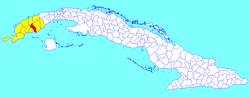 Pinar del Río municipality (red) within Pinar del Río Province (yellow) and Cuba