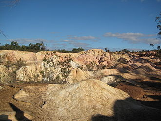 Heathcote, Victoria - Pink Cliffs Reserves, remains of the goldrush in Heathcote.