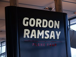 Gordon Ramsay Plane Food - The sign outside the entrance to Gordon Ramsay Plane Food