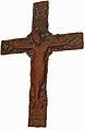 Plaque médiane de croix cuivre champlevé gravé émaillé doré 1210 Limoges.JPG