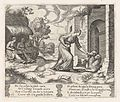 Plate 26- Psyche enters the underworld giving an offering to Cerberus, with two elderly women at left, from the Story of Cupid and Psyche as told by Apuleius MET DP862832.jpg