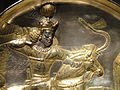 Plate with Shapur II in hunting scene, view 2, Iran, Sasanian period, 4th century AD, silver and gilt - Arthur M. Sackler Gallery - DSC05880.JPG