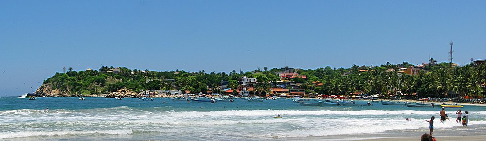 Playa Marinero In Puerto Escondido Oaxaca Mexico With The Lighthouse Visible On Left