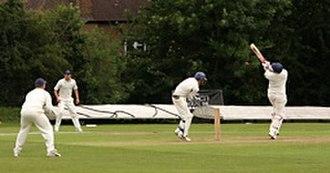 Bouncer (cricket) - A batsman attempting to play a hook shot against a bouncer.