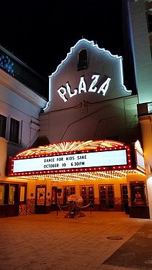 Plaza theater at night.