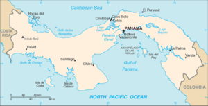 History of Panama - Panama's location between the Pacific (bottom) and the Caribbean Sea (top).