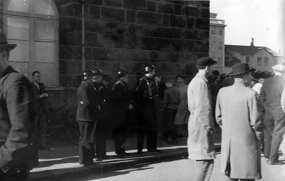 Police are prepared for trouble in front of the House of the Althing, March 30th 1949.