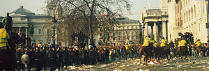 Poll tax riots - Poll Tax Riot 31 March 1990 Trafalgar Square - Horse Charge