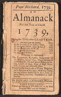 <i>Poor Richards Almanack</i> almanack published by Benjamin Franklin