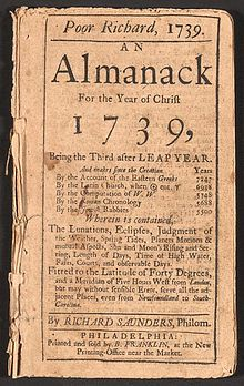 "A front page of the Poor Richard's Almanack for the ""year of Christ 1739"", written by Richard Sanders and printed by Benjamin Franklin."