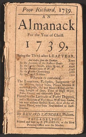 Poor Richard's Almanack - 1739 Edition of Poor Richard's Almanack