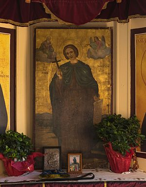 John the Russian - Icon of St. John the Russian in Prokopi, Euboea, Greece, where lies his body