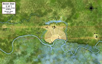 Poverty Point - An overview of the Poverty Point site showing the locations of the nearby Motley and Lower Jackson mounds