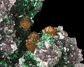 Powellite, Brochantite Chuquicamata Chili