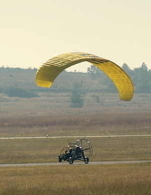 Powered paragliding - A powered paraglider trike landing