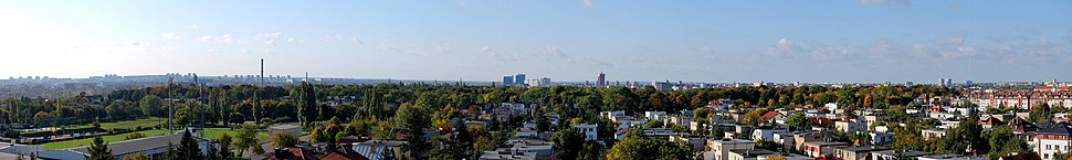 A panoramic view of Poznań, taken from the city's north-eastern suburbs in Nowe Miasto