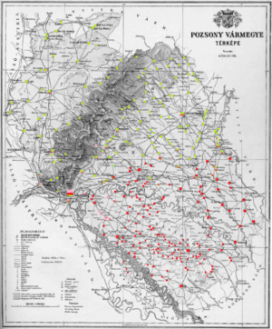 Pozsony County - Ethnic map of the county with data of the 1910 census (see the key in the description).