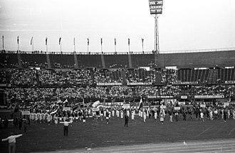 1963–64 European Cup - Image: Práter (ma Ernst Happel) stadion. A IV. World Gymnaestrada megnyitója 1965. július 20 án. Fortepan 74382