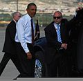President Barack Obama departs Fort Bliss, Texas, Aug. 31, 2010, after visiting with U.S. troops who have served in Iraq 100831-A-RD562-252.jpg