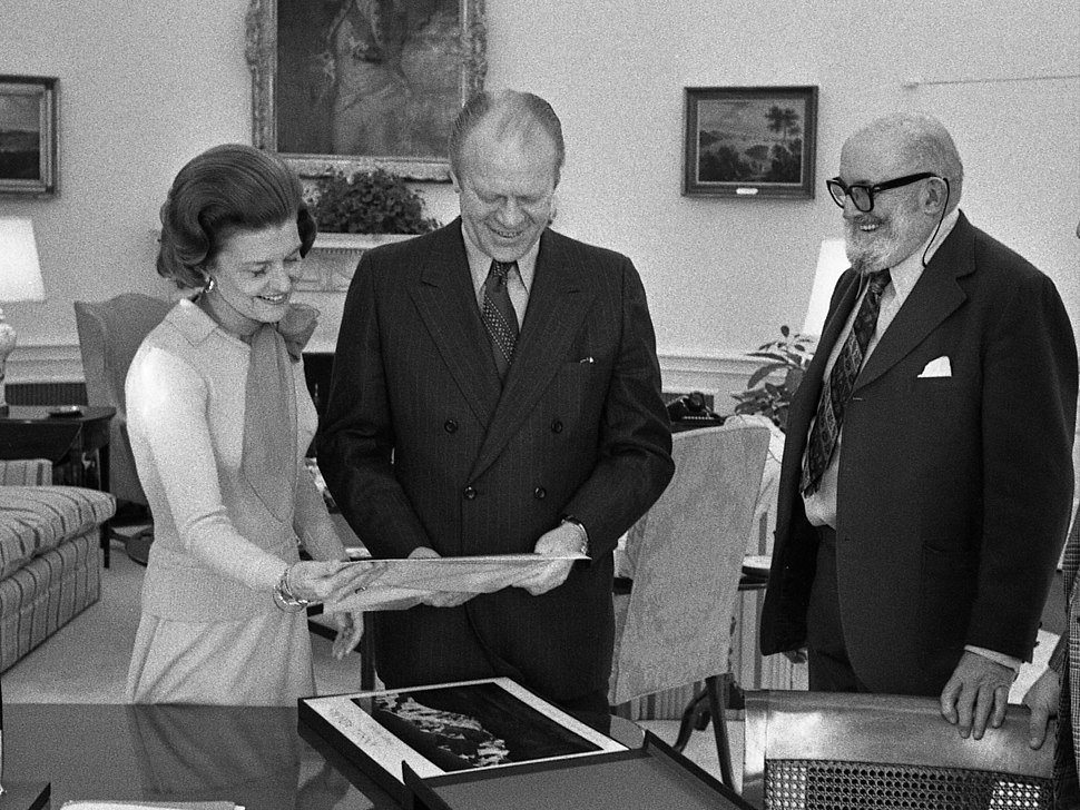 President Gerald R. Ford and First Lady Betty Ford Looking at Photographs in the Oval Office with Ansel Adams