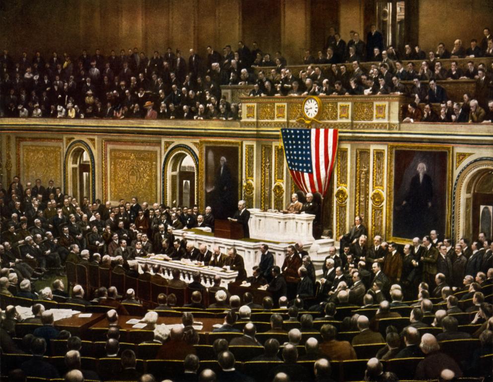 President Wilson asking Congress for a war declaration on April 2, 1917