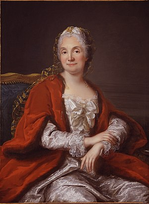 Marie Thérèse Rodet Geoffrin - Portrait by Marianne Loir held by the National Museum of Women in the Arts, Washington, DC, assumed to be of Mme Geoffrin