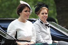 Princess Beatrice (right) with her sister Princess Eugenie of York at Trooping the Colour, June 2013.