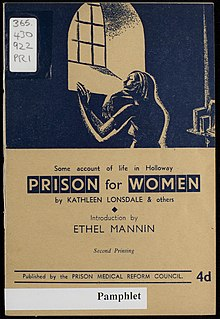 Pamphlet written by Kathleen Lonsdale on Prison Reform in 1943