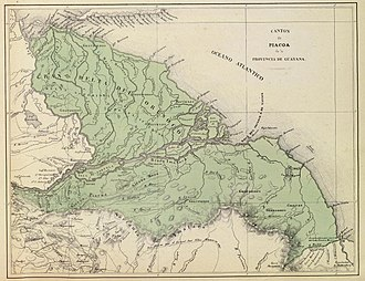 Delta Amacuro - Delta Amacuro in 1840: Piacoa Canton, part of the Province of Guayana