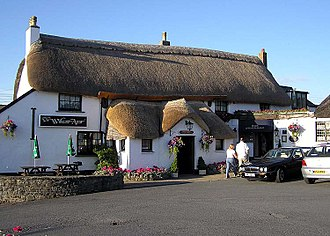 Thatching - A thatched pub (The Williams Arms) at Wrafton, North Devon, England