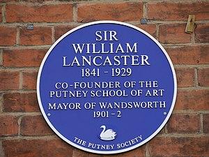 William Lancaster (politician) - Blue plaque at Putney School of Art and Design