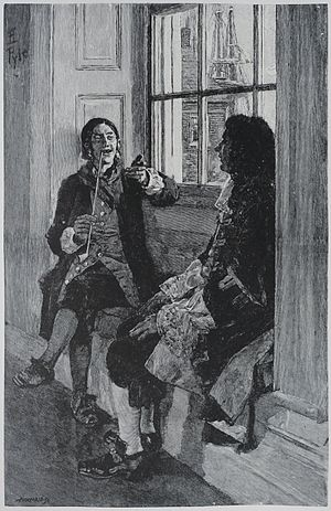 Thomas Tew - Thomas Tew relates his exploits to Gov. Fletcher of New York. Painting by Howard Pyle.