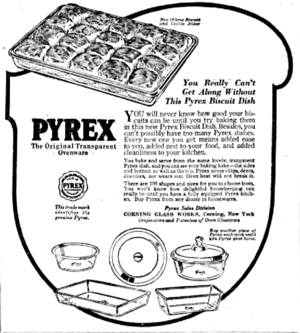 Pyrex - Newspaper ad showing Pyrex bakeware from 1922