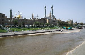 Qom shrine with river.jpg