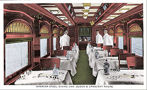 Cincinnati, New Orleans and Texas Pacific Railway - dining car, postcard, date unknown